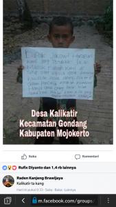 Aksi Protes Pampang Tulisan Pesan Lewat Medsos Facebook, Dilakukan Oleh Keluarga Yang Jalannya Ditutup Oleh Pemerintah Desa