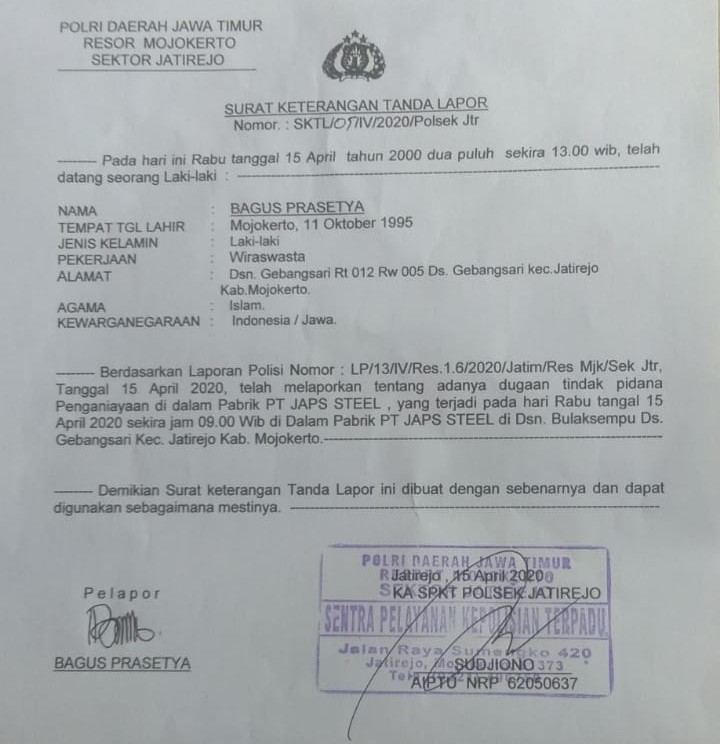 PT JAPS Kabupaten Mojokerto